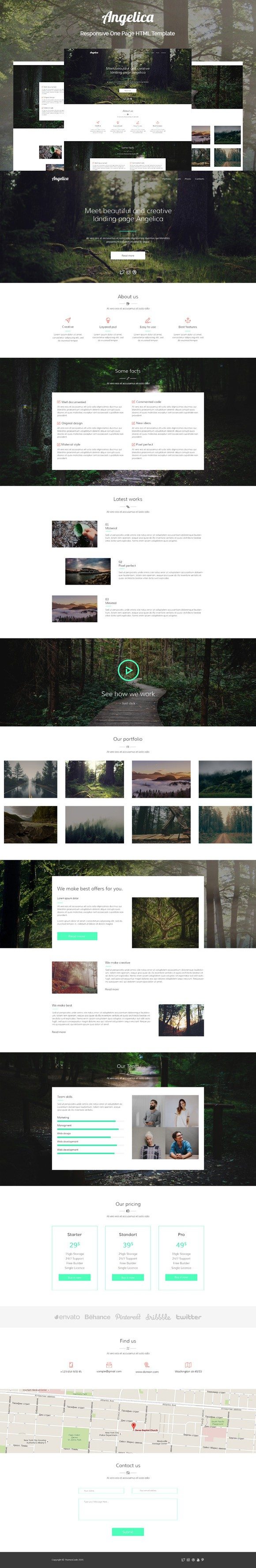 Angelica - One Page HTML Template. HTML/CSS Themes. $15.00 | HTML ...