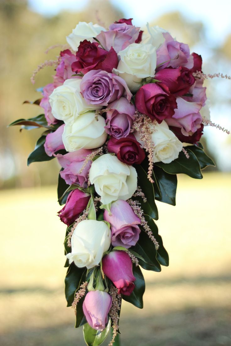 Cascading Wedding Bridal Bouquet - Roses, white, lilac and purples ...