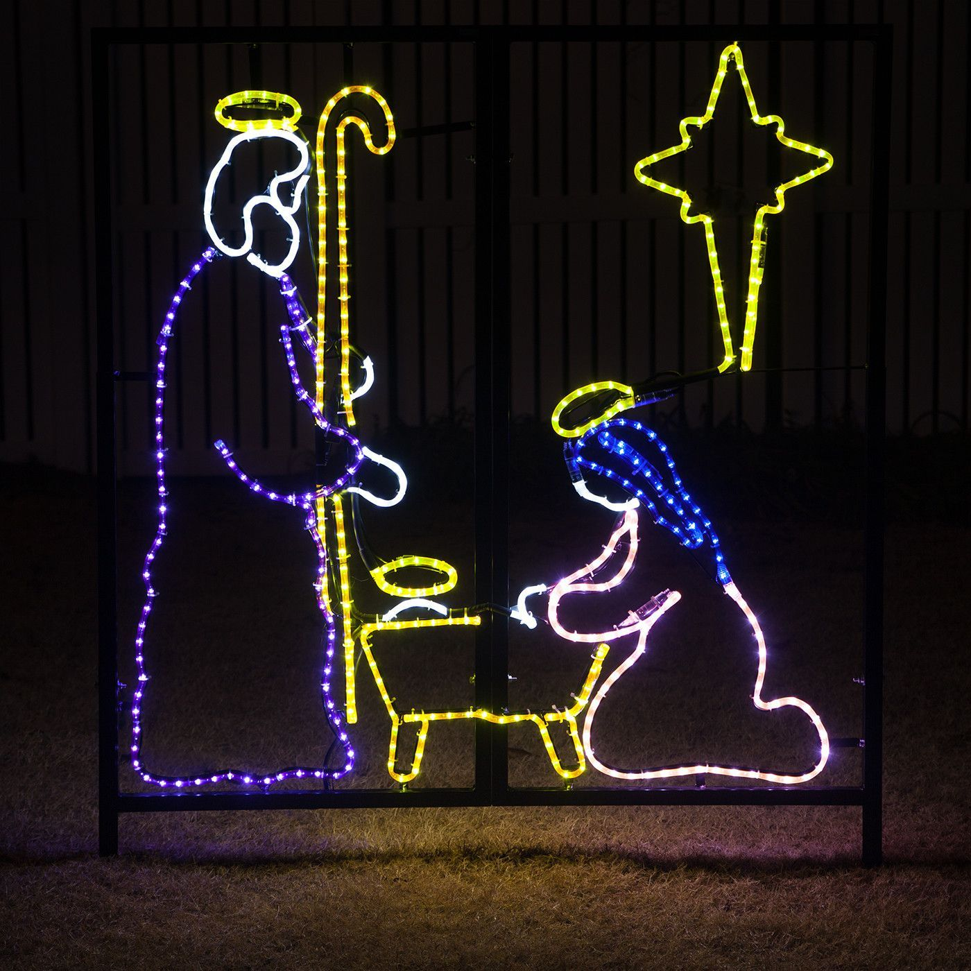 led religious christmas nativity manger scene