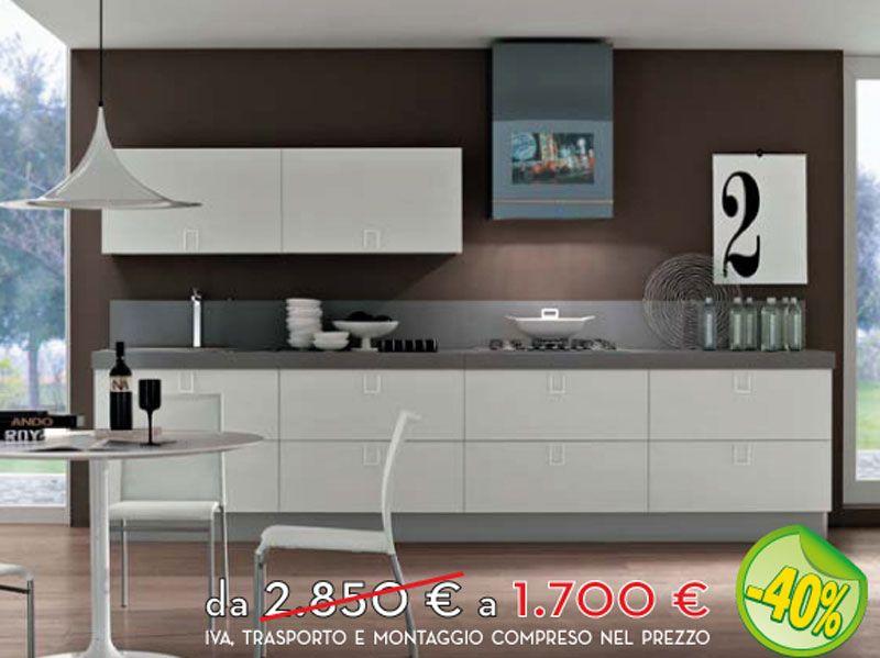 Cucina lineare lunghezza 360 cm in finitura bianco lucido con maniglia arredissima in - Cucine moderne scure ...