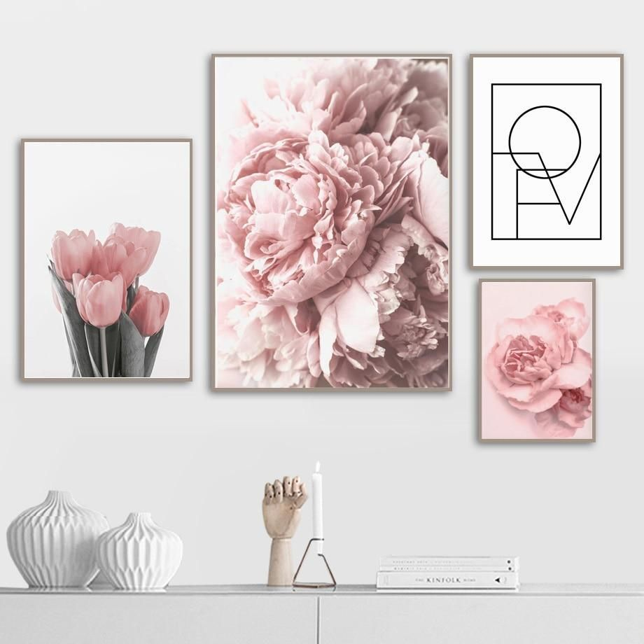 Peony Flower Canvas Poster Beauty LOVE Quotes Wall Art Painting Nordic Style