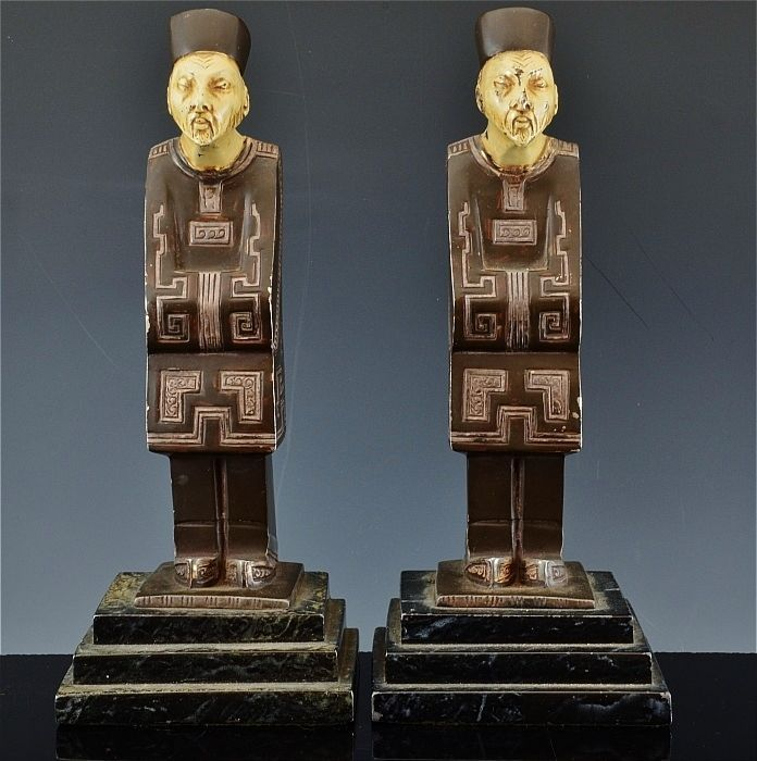GREAT c1920 ART DECO COLD PAINTED CHINESE IMPERIAL FIGURE SPELTER METAL BOOKENDS