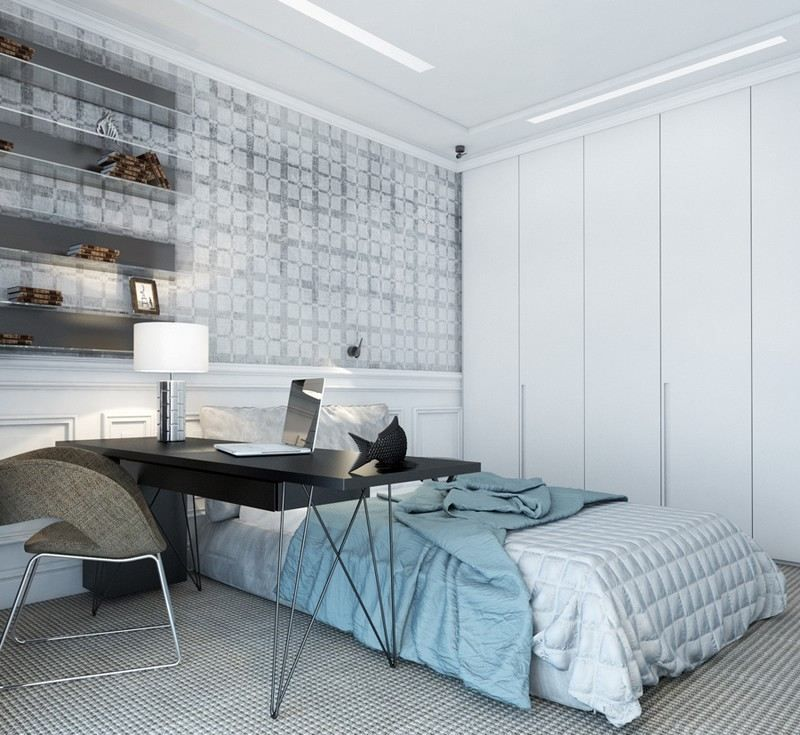 Kleines Schlafzimmer Platzsparend Einrichten  Weißer Kleiderschrank, Graue  Tapeten, Teppichboden