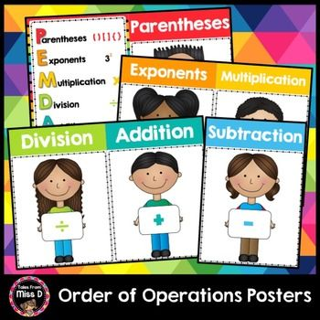 Order of Operations PostersThese Order of Operations Posters are useful visual reminders for students. Includes;1) PEMDAS Anchor Chart2) PEMDAS display (a poster for parentheses, exponents, multiplication, division, addition and subtraction)If you have any questions please email me at talesfrommissd@gmail.com.