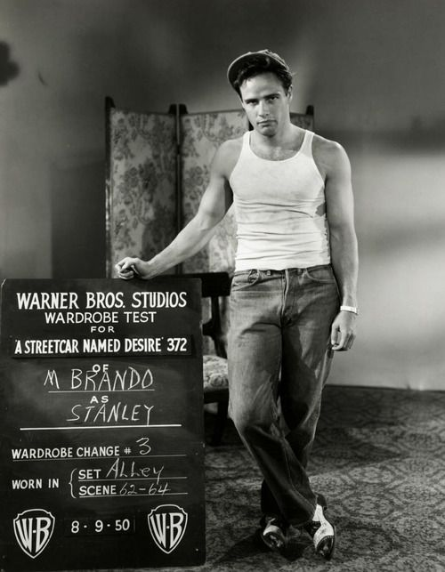 MARLON BRANDO, as Stanley Kowalski  Wardrobe screen tests for A Streetcar Named Desire (1951)