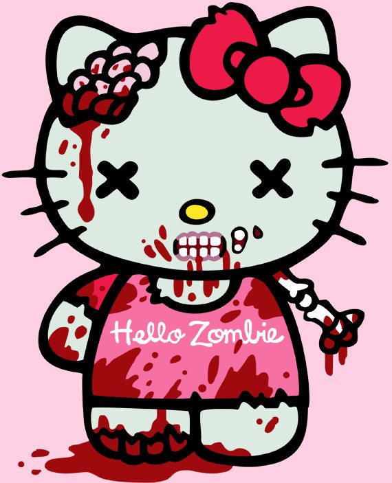 Hello Miss Kitty Coloring Pages : Hello kitty zombie women s tshirt size large by