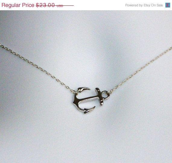 CIJ 15% OFF SALE Sideways Silver Anchor Necklace - Sterling Silver Sideways Silver Anchor Necklace, Nautical Jewelry, Navy Wife Jewelry