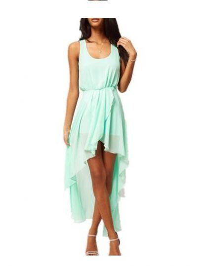 I found Light Green Scoop Neck Sleeveless Asymmetrical Mid Waist Chiffon Dress on Wish, check it out!