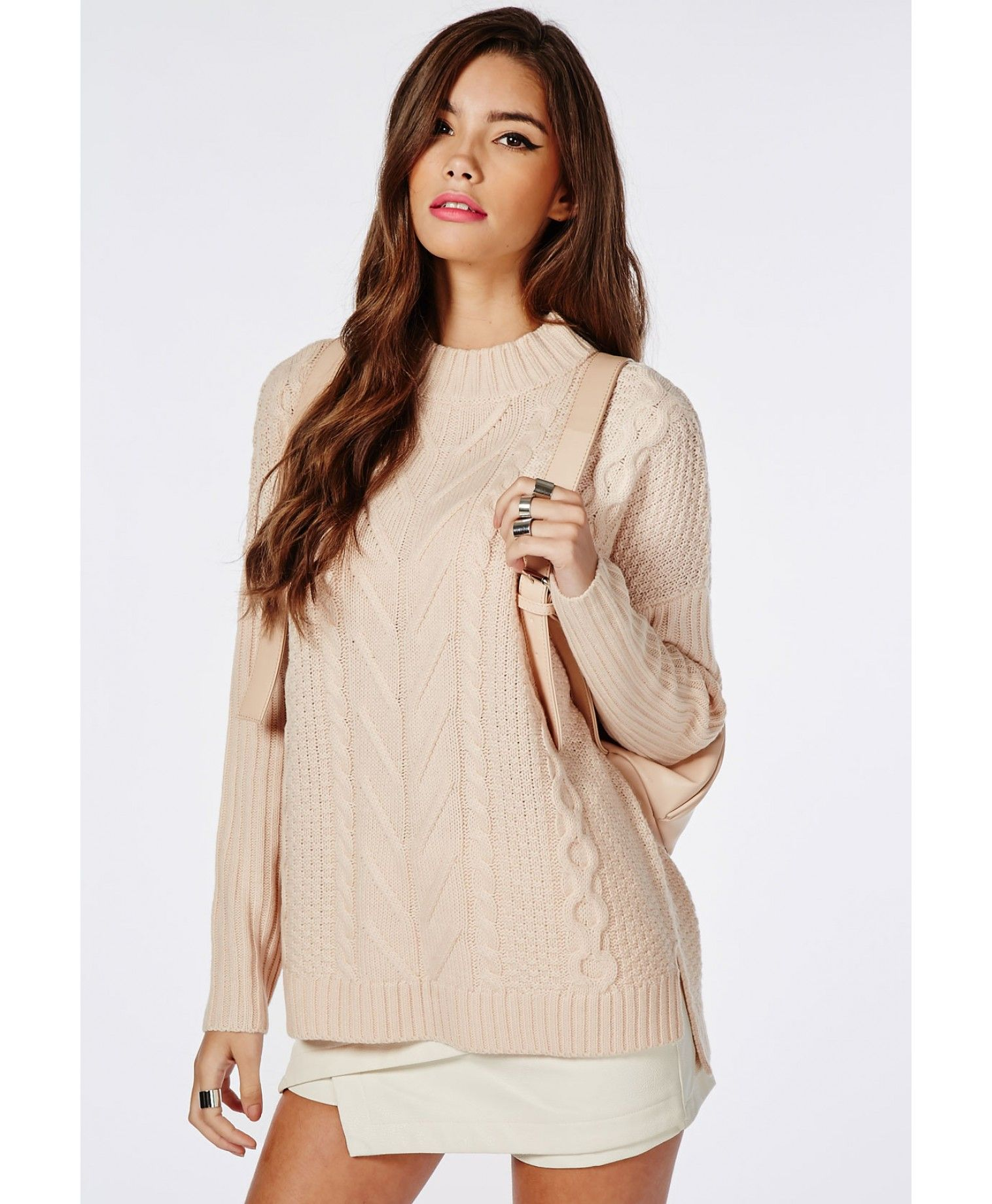 Cable Front Oversized Slouch Knitted Jumper Nude - Knitwear - Missguided  68b6e36ef