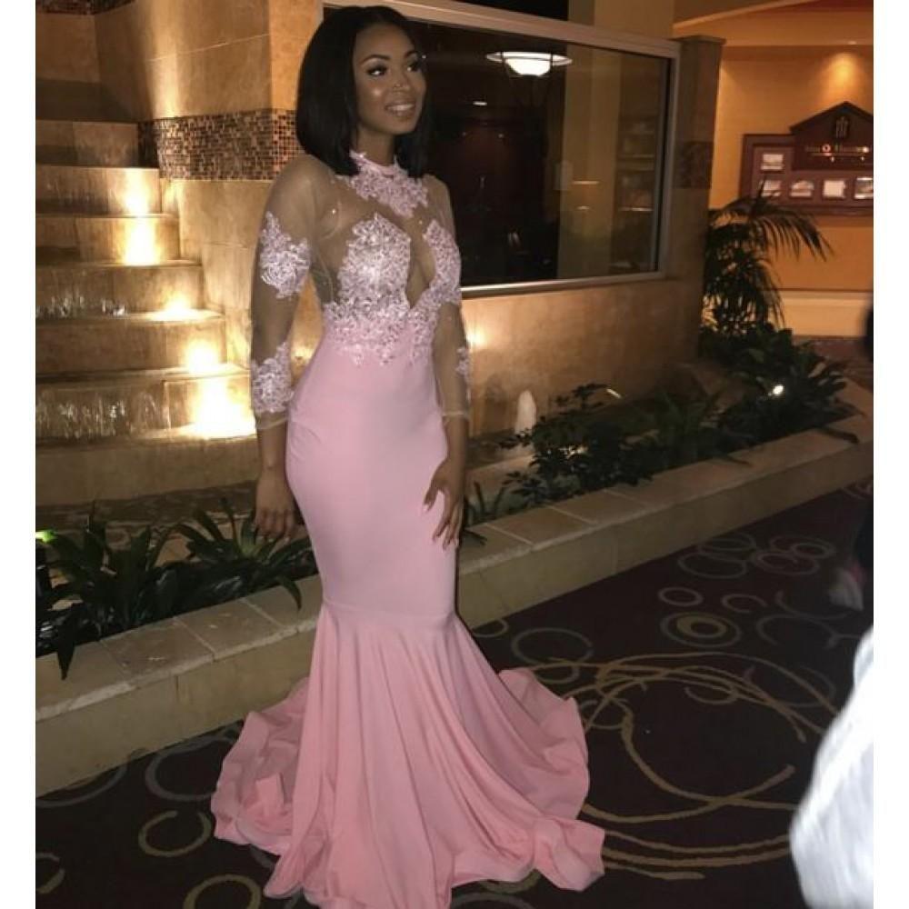 Sheath Pink Elastic Satin Long Sleeves Stretchy Prom Dress 2019 Black Girl Prom Dresses Cute Prom Dresses Prom Girl Dresses [ 1000 x 1000 Pixel ]
