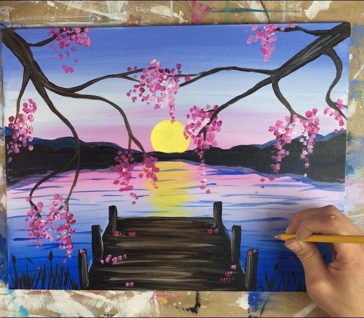 How To Paint A Sunset Lake Pier is part of Lake painting, Step by step painting, Anime canvas painting, Sunset painting, Painting, Canvas painting tutorials - How to paint a sunset over a lake and a rustic pier  This beginner acrylic painting tutorial will guide you through the steps