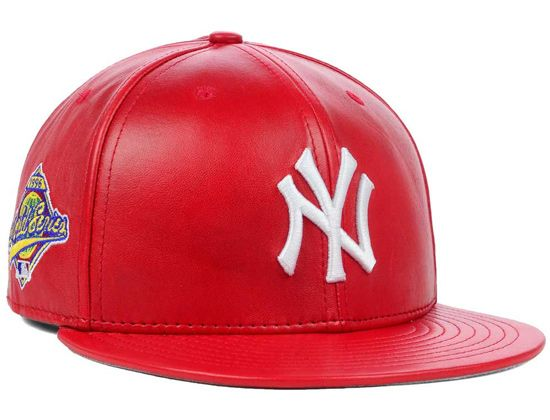14c9699394ca2 hats manufactured by special edition | Red Leather New York Yankees ...