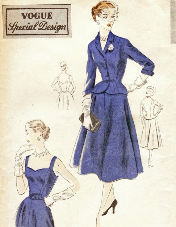Vintage 1950s dress and jacket pattern - Vogue S4229 | Style File ...