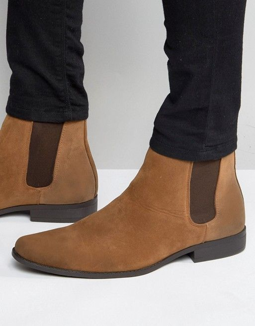 DESIGN chelsea boots in tan faux suede