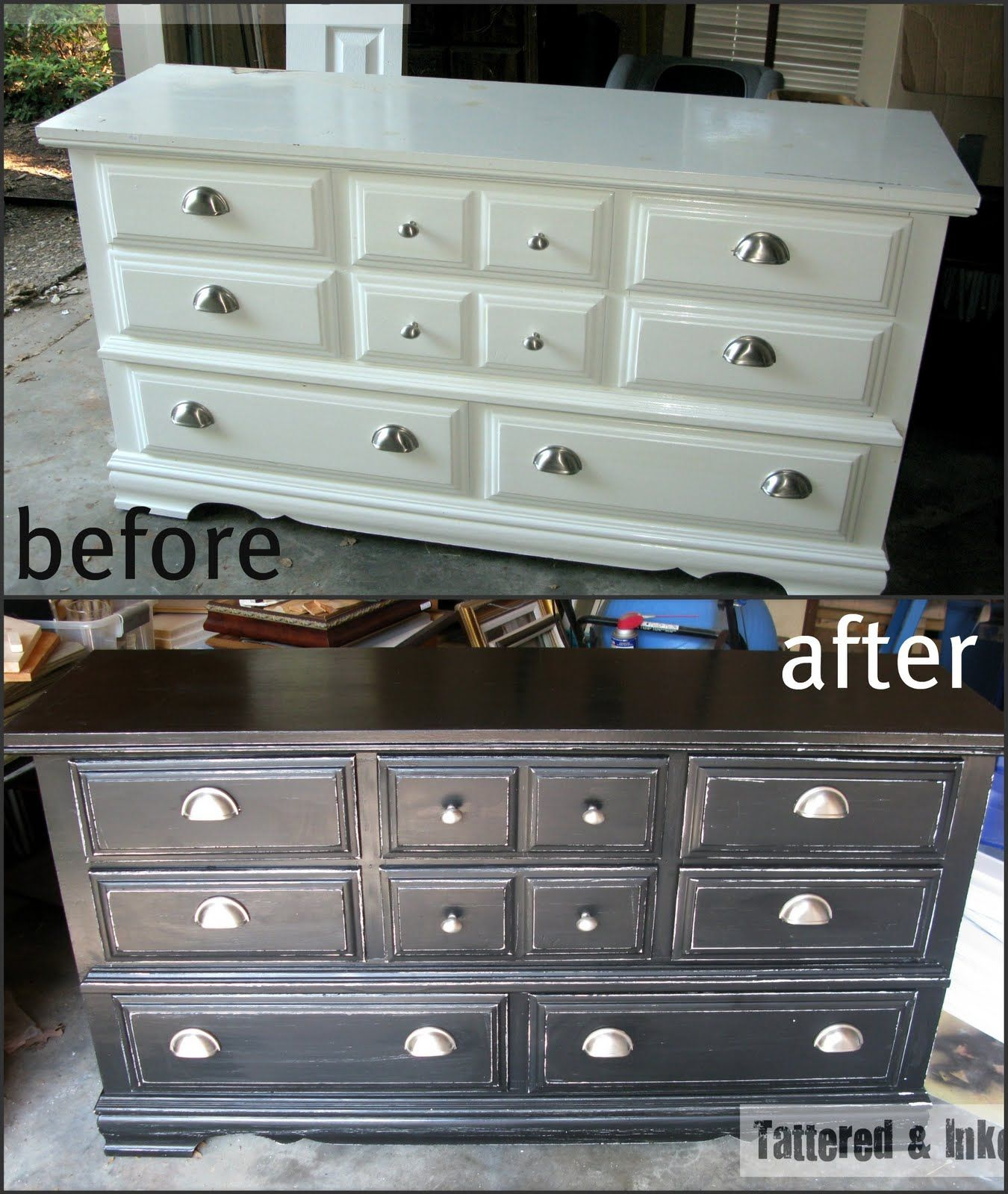 Tattered And Inked Black White Distressed Dresser Black Distressed Furniture White Dresser Diy Black And White Dresser [ 1600 x 1350 Pixel ]