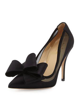 Bow pumps, Black satin shoes, Heels