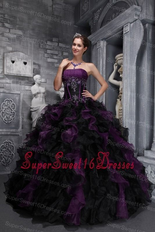 83fb0f0ae72 Exclusive Dark Purple and Black Sweet 16 Dress Strapless Taffeta and Organza  Appliques and Ruffles Ball Gown