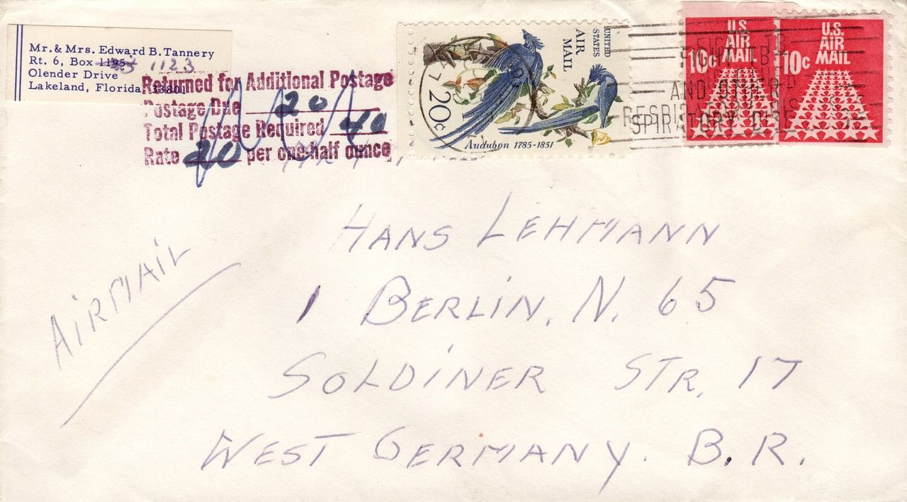 Germany, Letters Air Mail Envelope Stamp Paper Airm