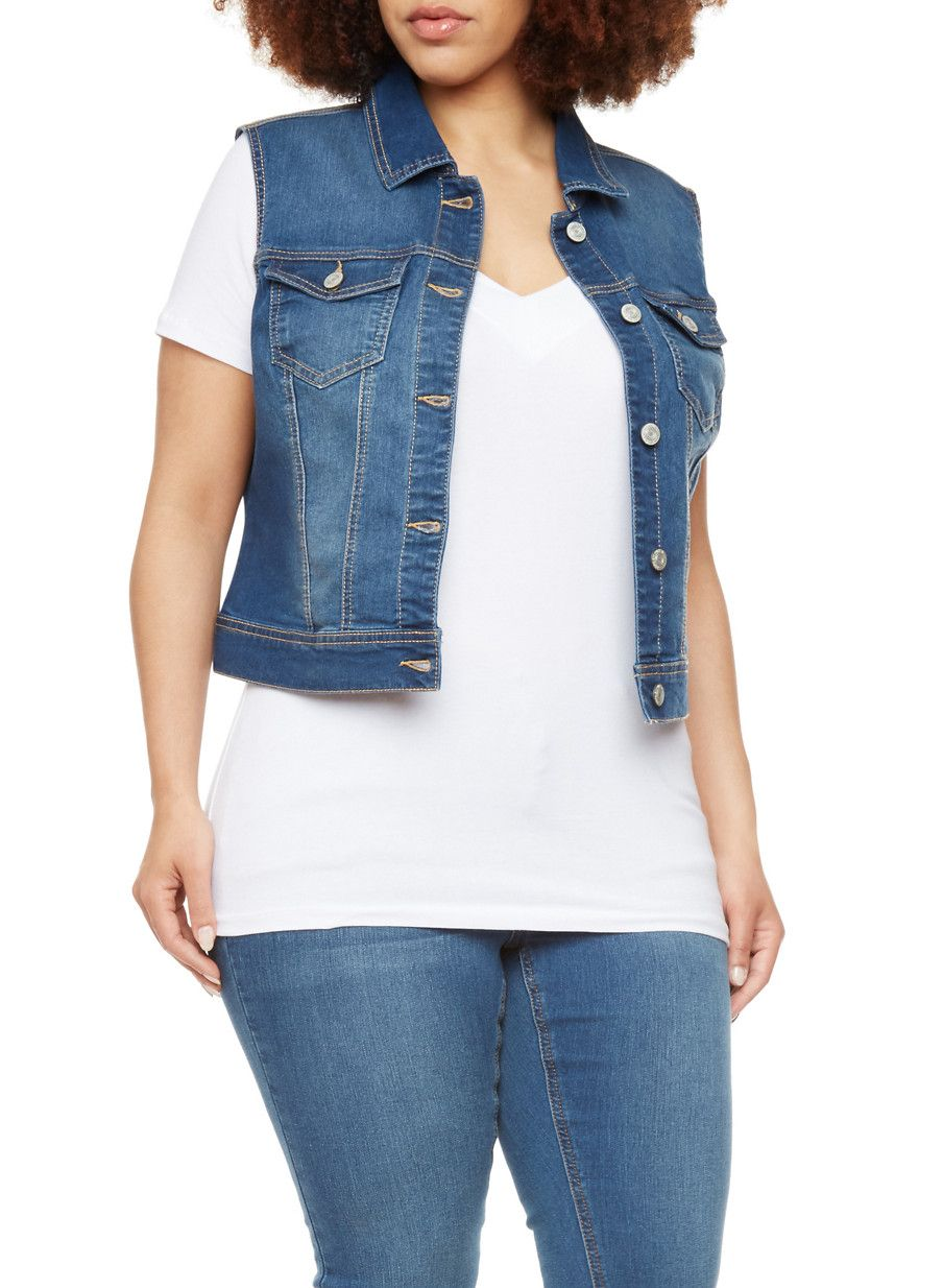 b68d8ba27 Rainbow Plus Size WAX Jeans Denim Vest | Add this classic denim vest by WAX  Jeans to your collection. Designed with two buttoned chest pockets and  buttoned ...