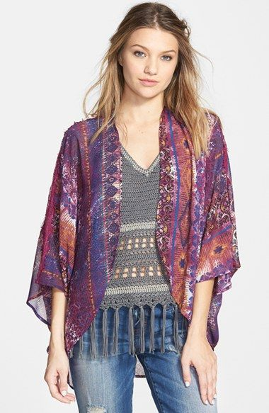 I like this cut for a short one...... Paper Crane Print Lace Trim Kimono Jacket (Juniors) available at #Nordstrom