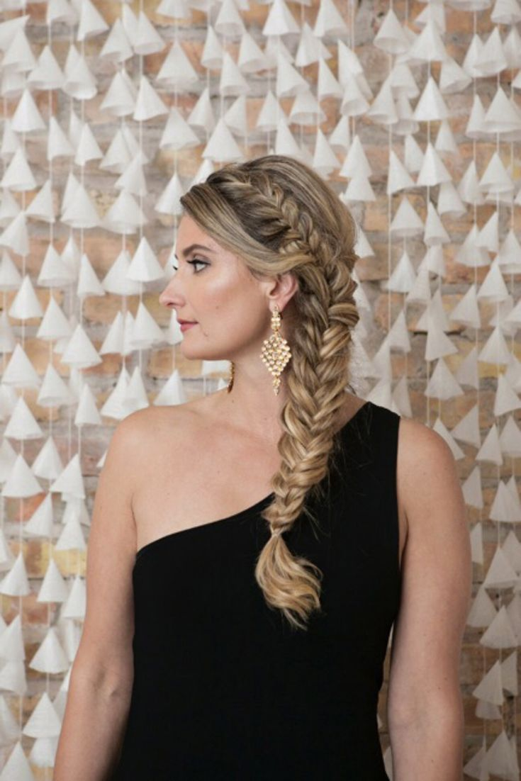 Fishtail braid statement earrings hair makeup by goldplaited