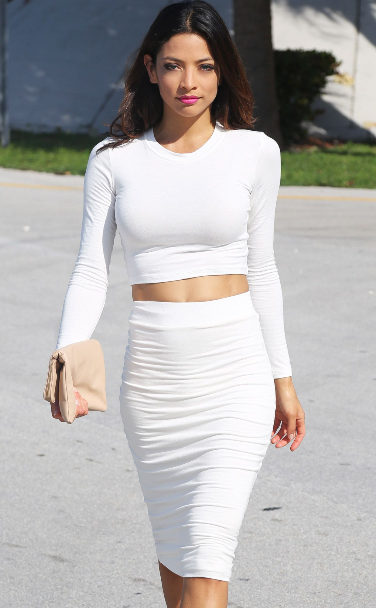 White Long Sleeve Power Crop Top SOLD OUT | Skirt set, Clothes and ...