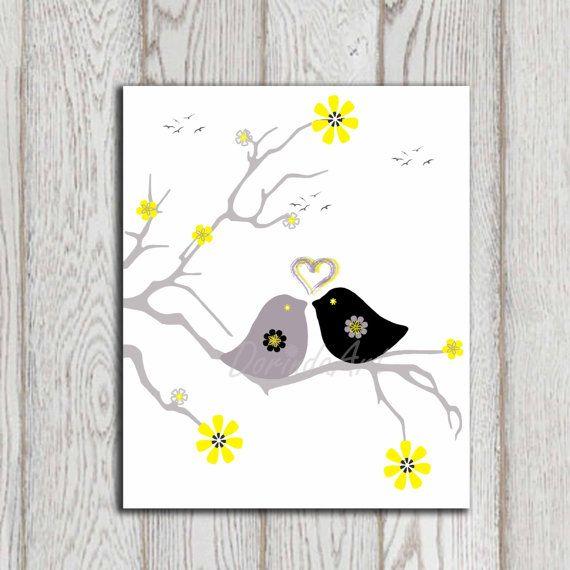 Birds Printable Bird Print Bird Decor Gray Yellow By Dorindaart 5 00 Grey Yellow Nursery Yellow Nursery Bird Wall Art