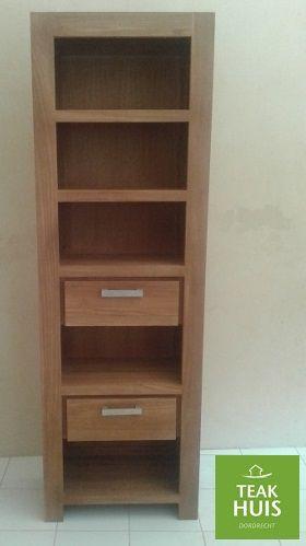 teakhouten boekenkast blok leverbaar in iedere gewenste afmeting
