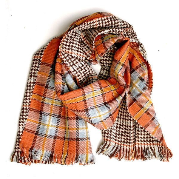 Orange Plaid Tartan Scarf (£20) ❤ liked on Polyvore featuring accessories, scarves, шарфы, tartan plaid scarves, tartan scarves, orange shawl, plaid shawl and orange scarves