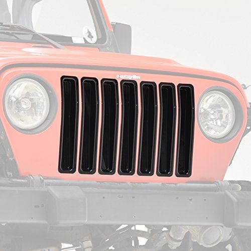 E Autogrilles Jeep Wrangler Tj Glossy Black Grille Cover Inserts