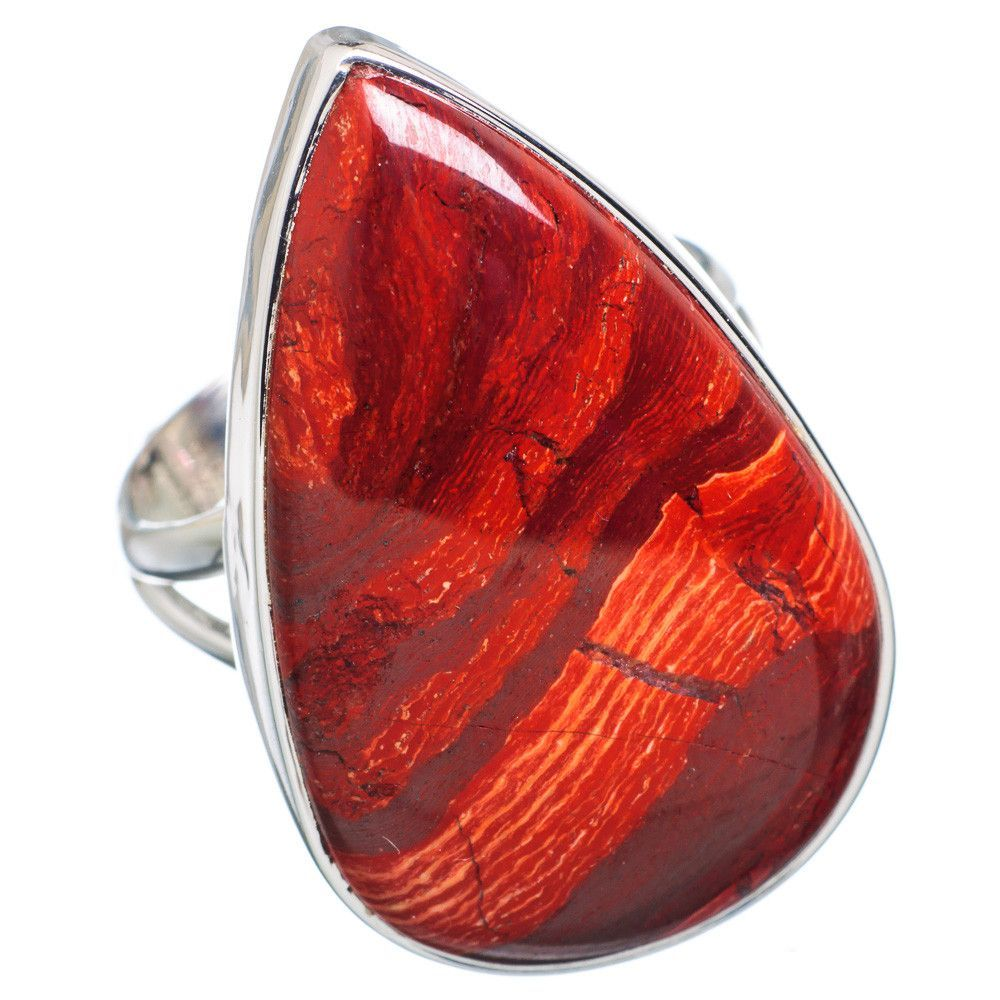Huge Red Jasper 925 Sterling Silver Ring Size 9 RING721099