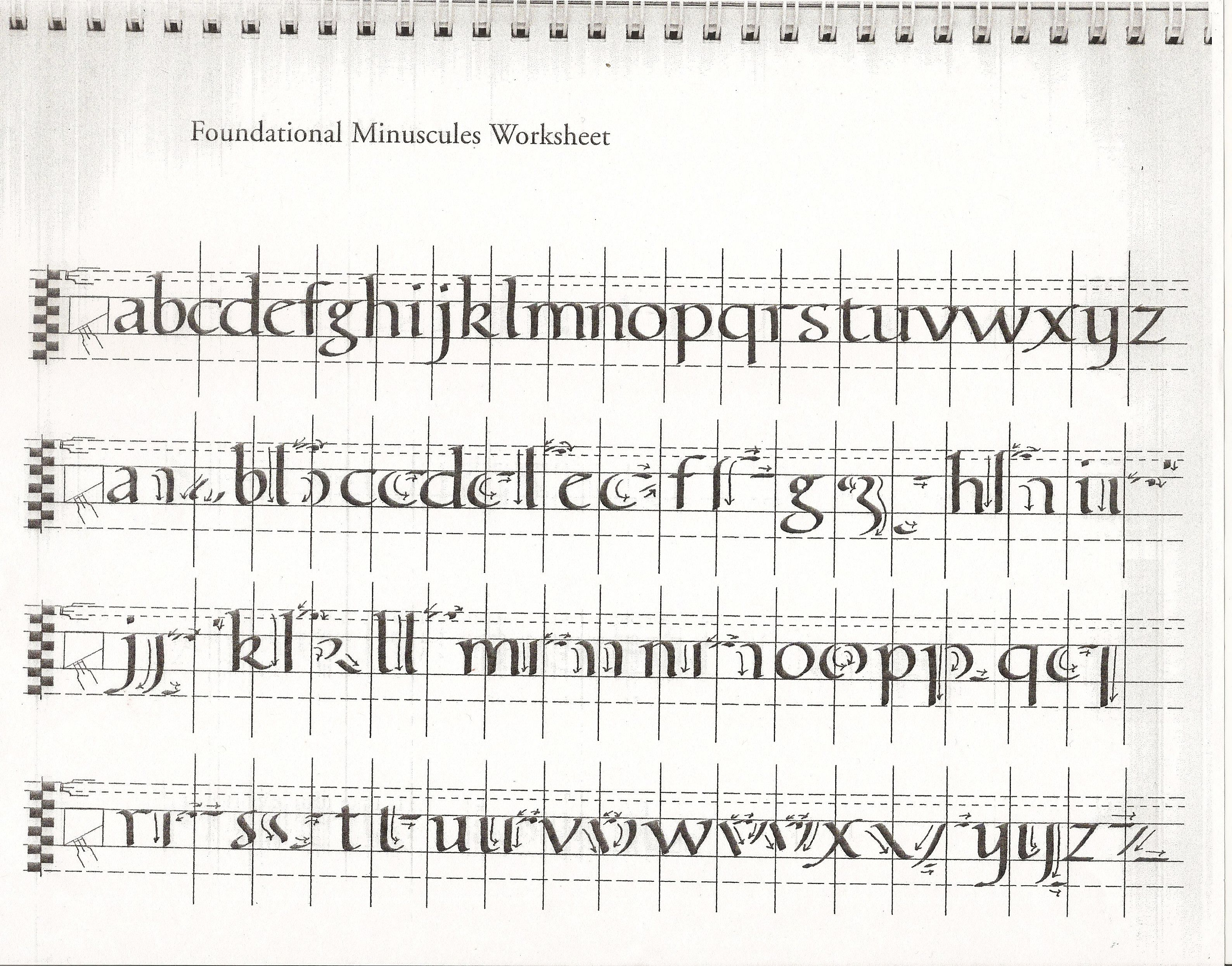 Foundational minuscules worksheet calligraphy