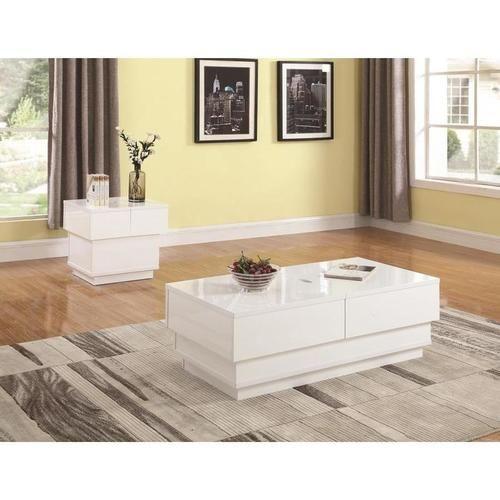 2 Pc Glossy White Sliding Storage Coffee Table Set 721088