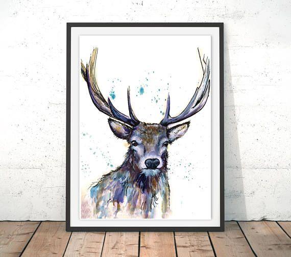 Deer Print Deer Illustration Stag Print Blue Deer Framed Etsy Fine Art Giclee Prints Art Deer Illustration