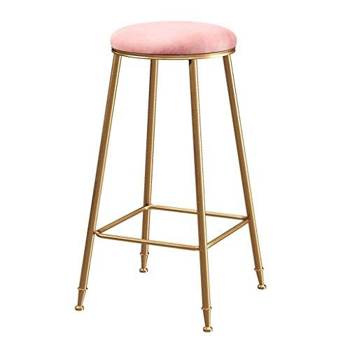 Velvet Upholstered Barstool With Gold Iron Legs And