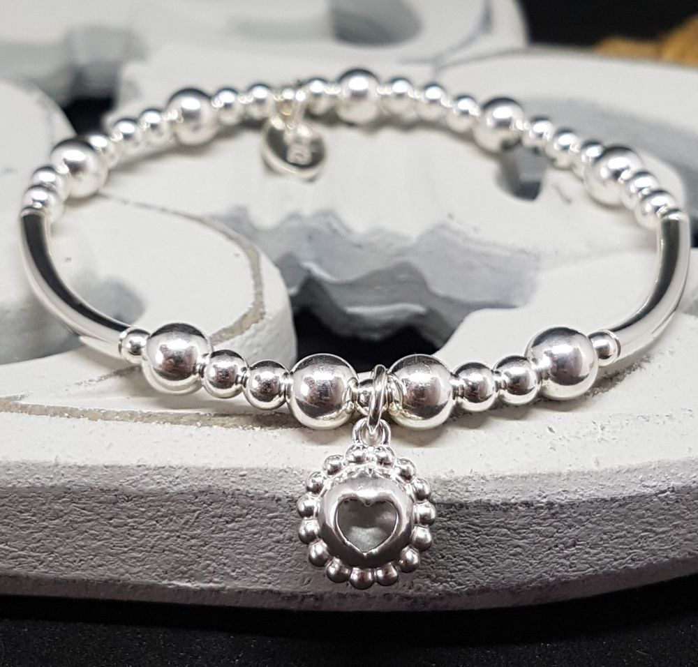 Inka sterling silver chunky stacking bracelet with mm beads u d