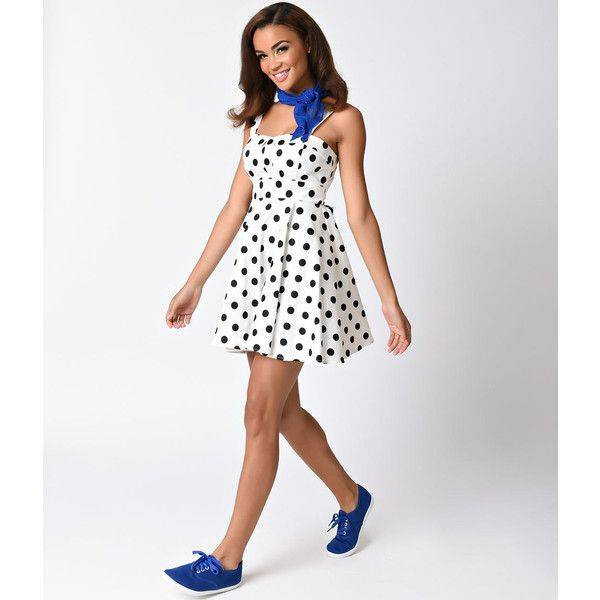 White & Black Polka Dot Cotton Short Flare Dress (270 DKK) ❤ liked on Polyvore featuring dresses, strappy dress, black white polka dot dress, sweetheart neckline dress, white and black polka dot dress and short flare dress