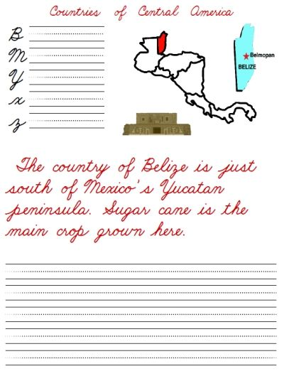 free printable cursive handwriting worksheet packet on countries of central america belize. Black Bedroom Furniture Sets. Home Design Ideas
