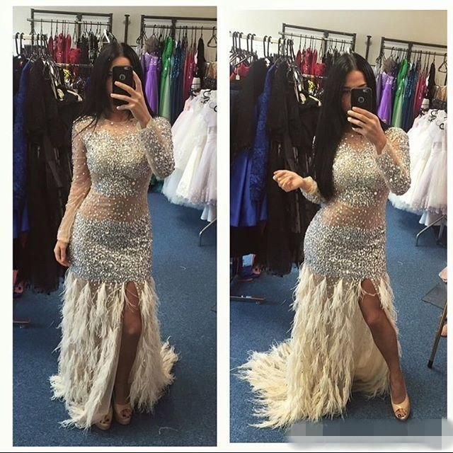 prom dresses with bling and feather