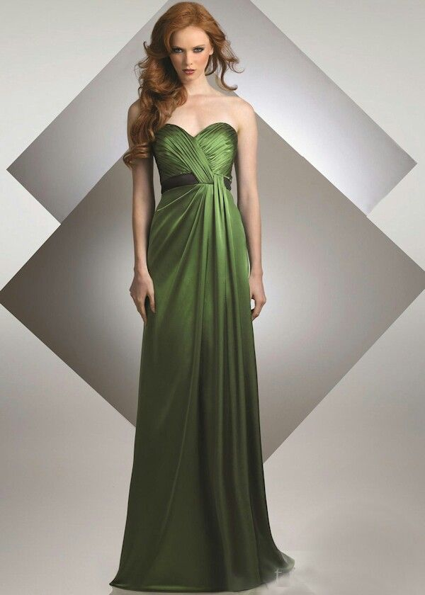 Long olive green bridesmaids dresses | Weddings | Pinterest