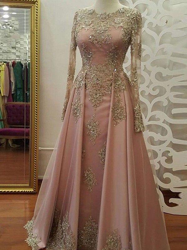 Sheath Long Sleeves Floor Length Pink Tulle Muslim Prom Dresses Long Sleeve Evening Dresses Evening Dresses Prom Prom Dresses With Sleeves