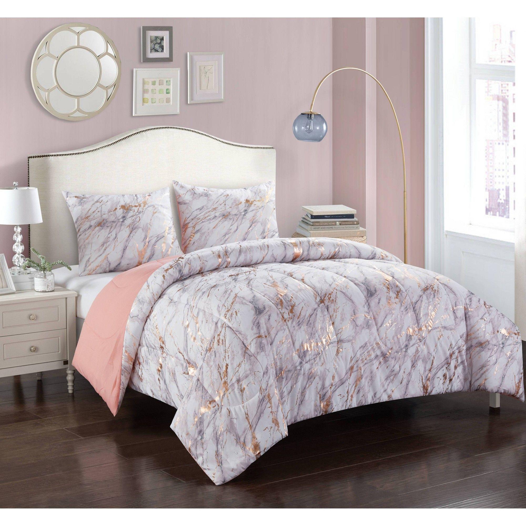 Full Queen Rose Gold Marble Comforter Set Rose Gold Heritage
