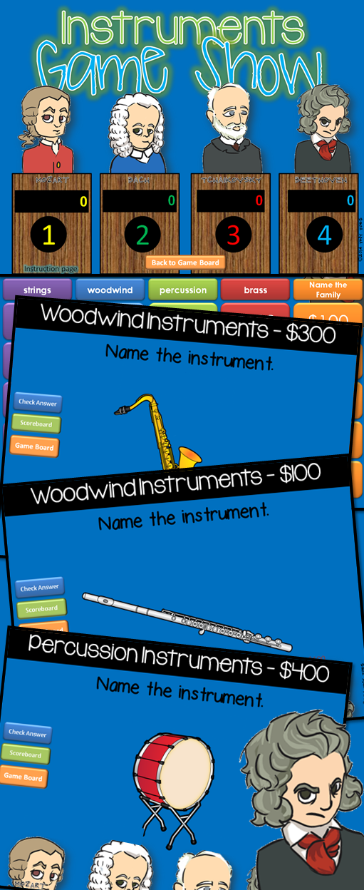 Musical Instruments Jeopardy Style Game Show  Musical Instruments