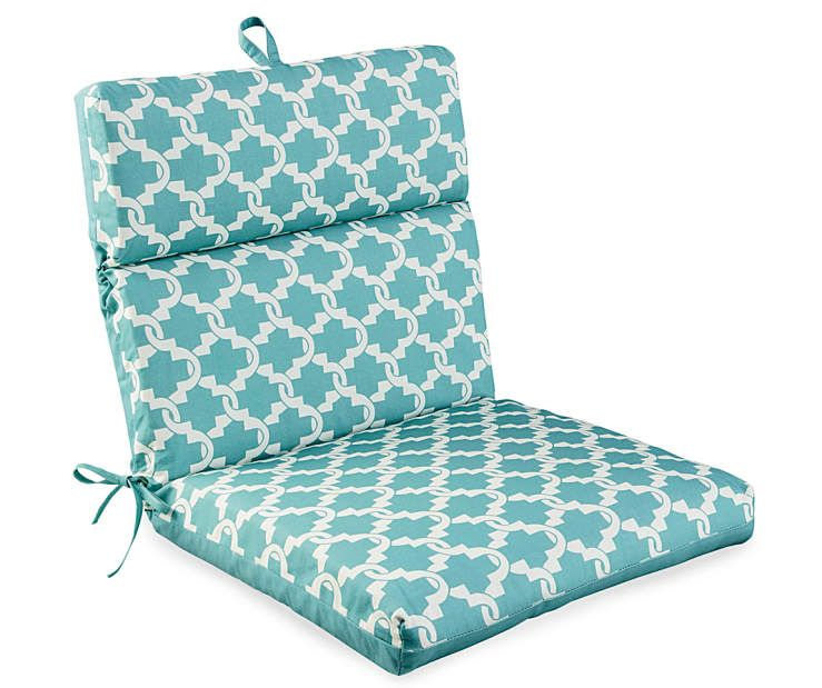 Compton Nile Aqua Tile Reversible Outdoor Chair Cushion At Big Lots.