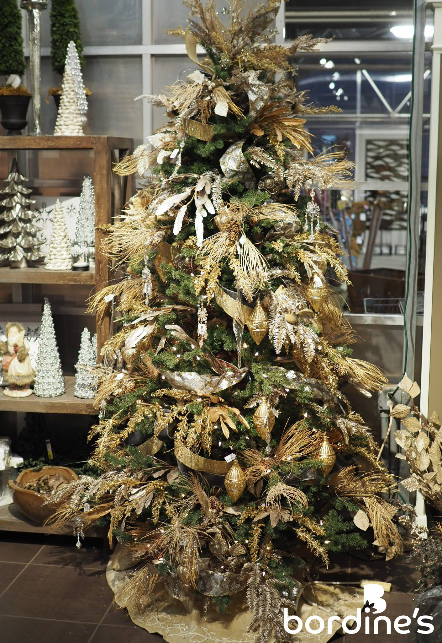 """""""Gilded Grey""""- Gold ribbon and ornaments accented with gilded feathers and sprigs  Christmas"""