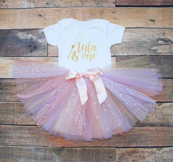 fdc0c89ca Personalised 1 One 1st First Birthday Fairy Wand Print Baby Girls Outfit Set  Peach Pink Lilac Tutu Gold Glitter Print White Vest Bodysuit