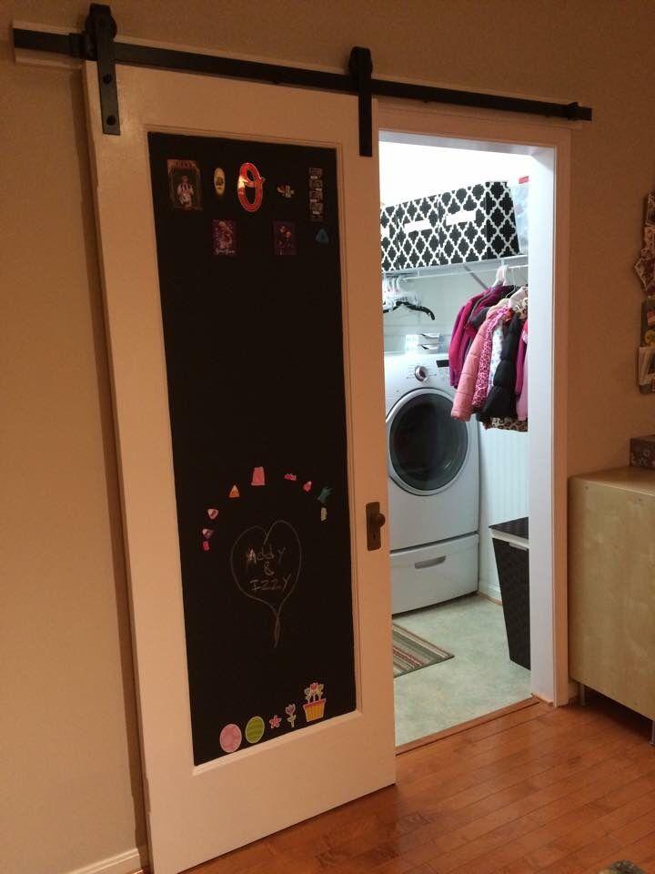 Diy Barn Door W Magnetic Chalkboard Sliding Doors Kitchen Pantry Sliding Door Window Treatments