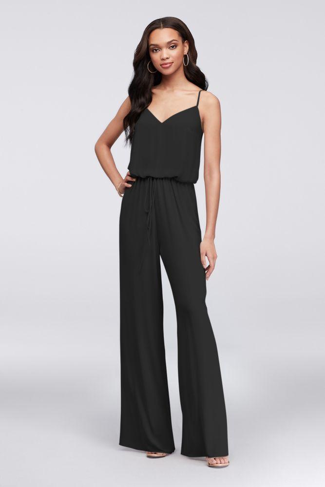 Flowy Wide-Leg Georgette Bridesmaid Jumpsuit Style F19790, Black, 0 #bridesmaidjumpsuits