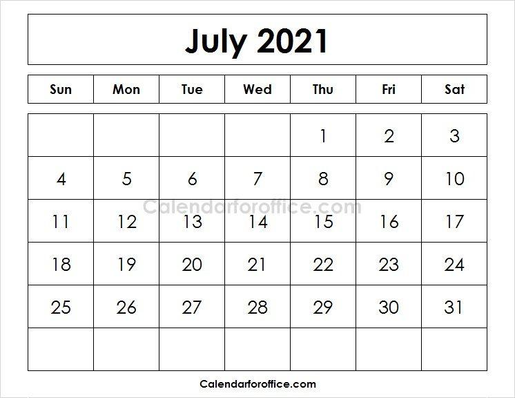 Free 2021 July Calendar Template Calendar Template April Calendar Printable May Calendar Printable