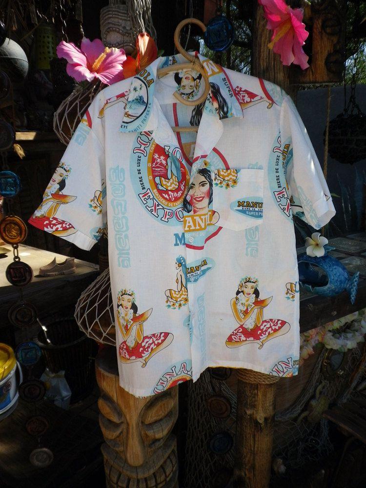 18ed64361fd3 VINTAGE 60s 70s Cool Cerveza Beer Shirt Men's Hawaiian Shirt Tahiti Tiki  cotton aloha shirt Mexico Tahiti Style Mexican Hawaii Wahini Woman.